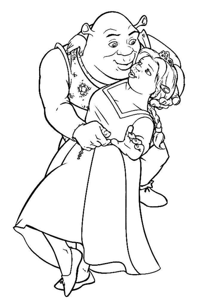 Printable Shrek And Fiona Wedding Coloring Pages