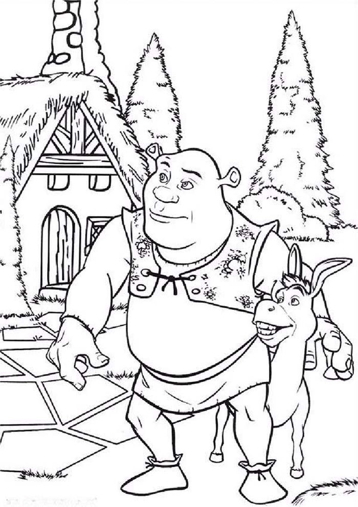 Printable Shrek Christmas Coloring Pages
