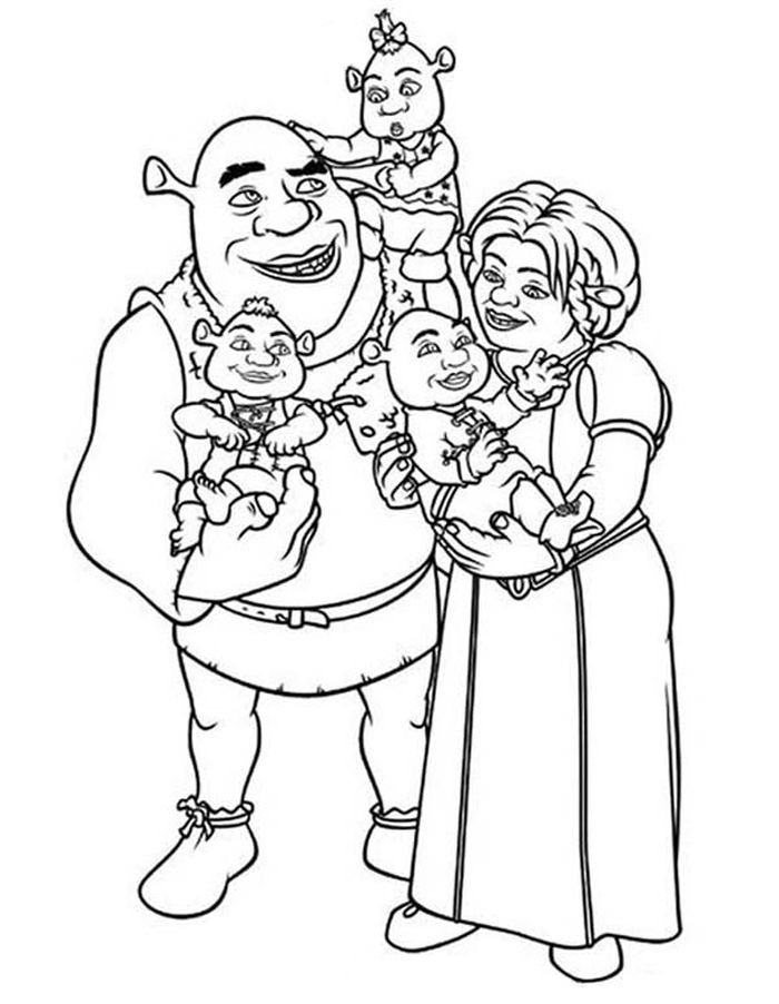Printable Shrek Kids Coloring Pages