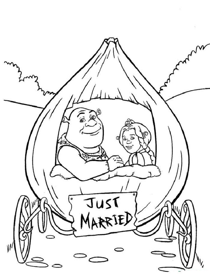 Printable Shrek Wedding Coloring Pages