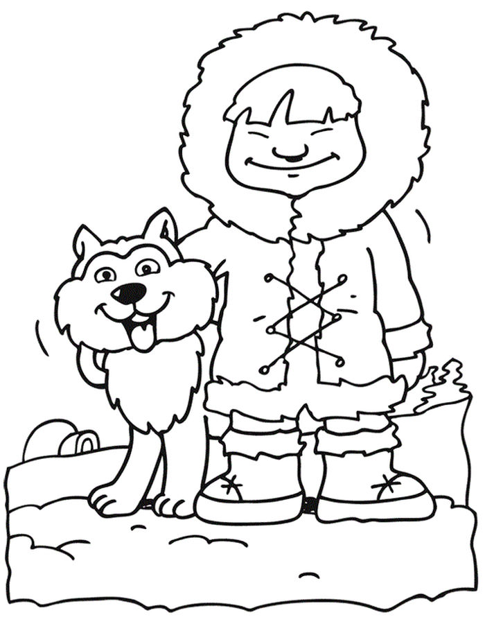 Printable Christmas Coloring Pages Husky