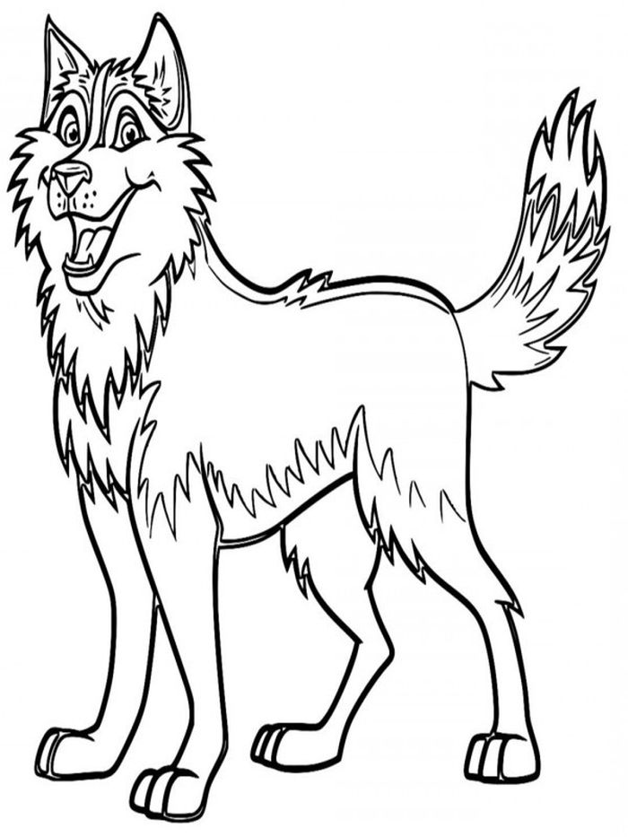 Printable Cute Cartoon Dogu Husky Coloring Pages