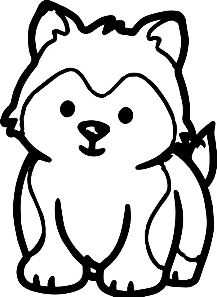 Printable Cute Husky Puppies Coloring Pages