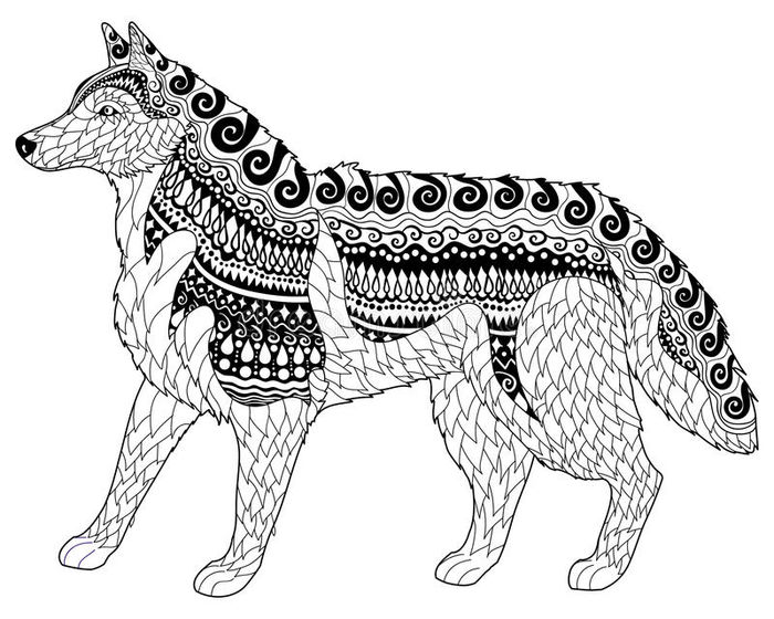 Printable Husky Abstract Coloring Pages